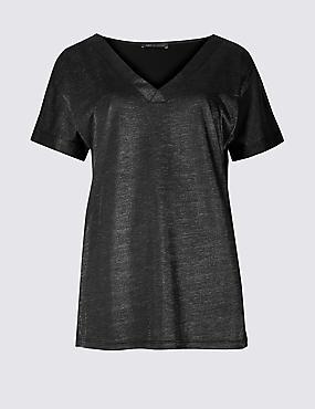 Sparkly V-Neck Short Sleeve T-Shirt