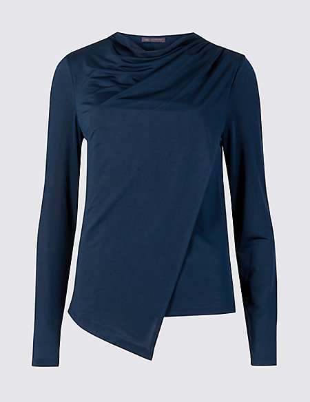 Wrap Round Neck Long Sleeve Top