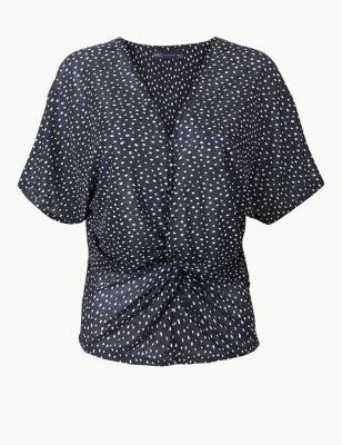 ad6fa75668b7 Polka Dot Twist Front Regular Fit Blouse £22.50