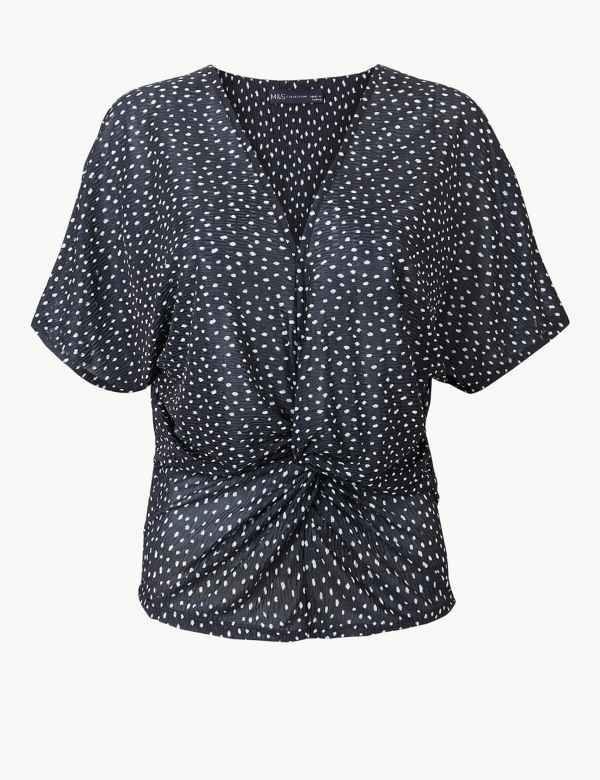 b39049a8cf034f Polka Dot Twist Front Regular Fit Blouse. M&S Collection