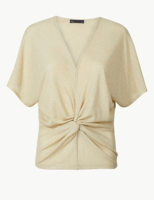 53cba56267d Sparkly Twist Front Short Sleeve Top £22.50