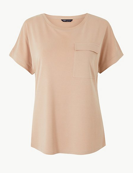 Front Pocket Round Neck Short Sleeve Top