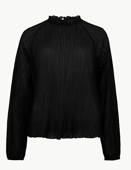 Textured Funnel Neck Long Sleeve Top