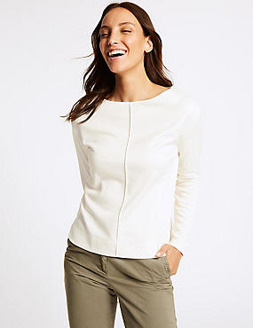 Cotton Blend Slash Neck Long Sleeve Top