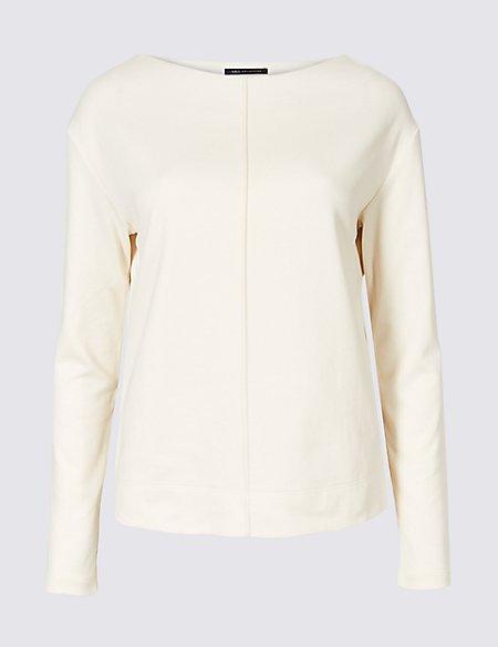 Cotton Blend Slash Neck Sweatshirt