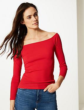 Textured Long Sleeve Bardot Top