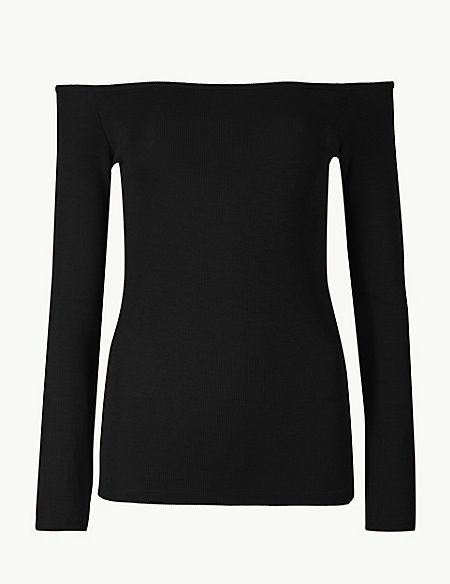 Textured Long Sleeve Bardot Top