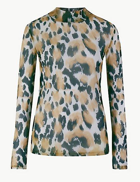 Animal Print Sheer Long Sleeve Top