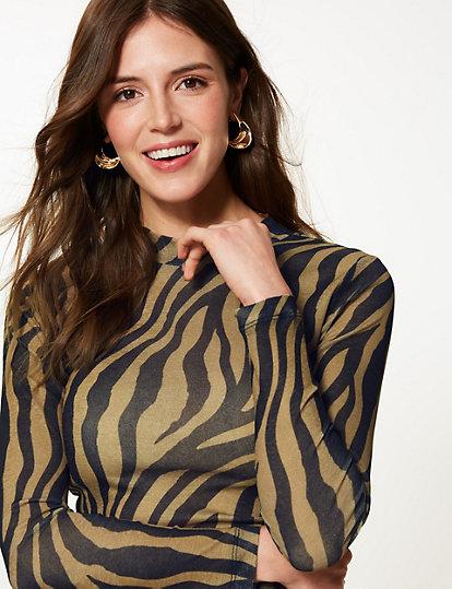 76745981a81577 Animal Print Long Sleeve Sheer Top | Tops & t-shirts | Marks and ...