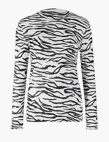 Animal Print Funnel Neck Long Sleeve Top
