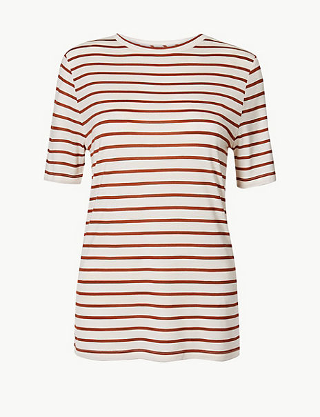 Striped Round Neck Regular Fit T-Shirt