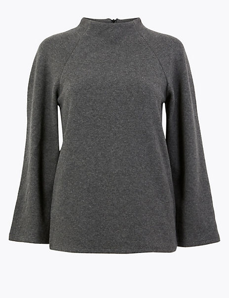 Cotton Blend 3/4 Sleeve Sweatshirt
