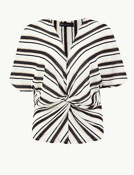 Striped Twist Front Regular Fit Blouse