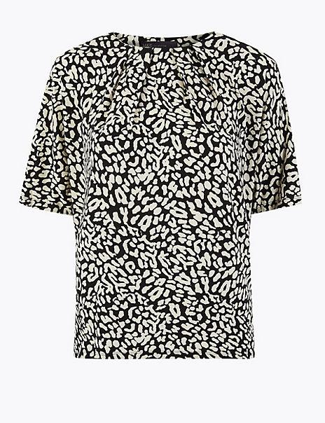 Animal Print Pleat Neck Short Sleeve Top