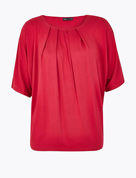 Pleat Neck Short Sleeve Top