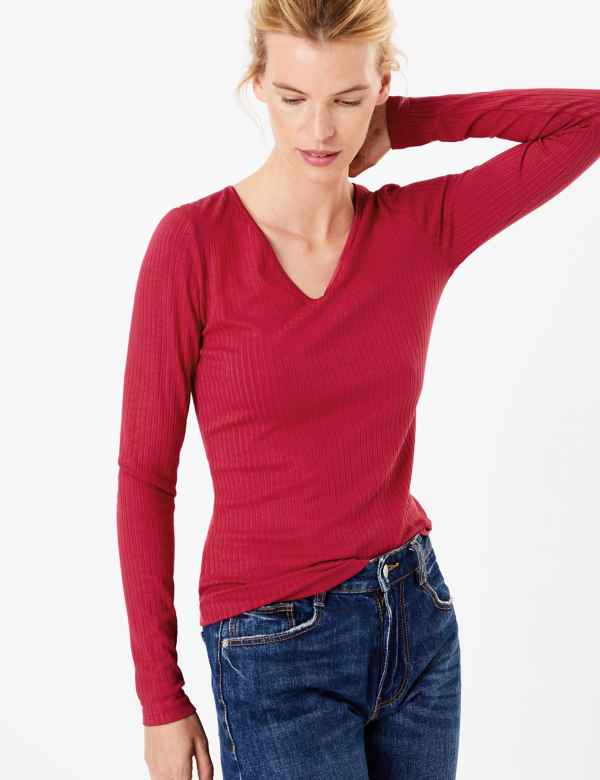 a9461e8f Ribbed V Neck Long Sleeve Fitted Top