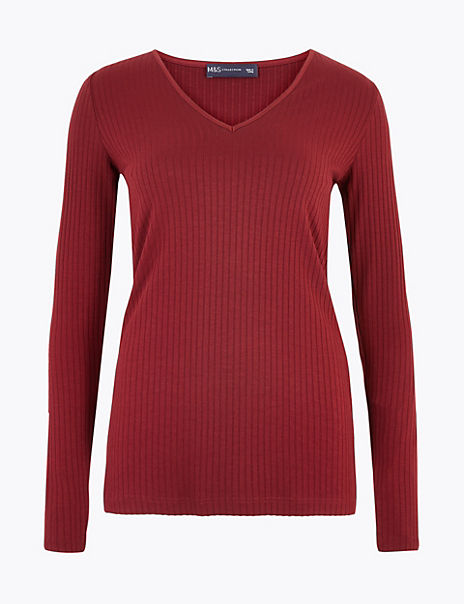 Ribbed V Neck Long Sleeve Fitted Top
