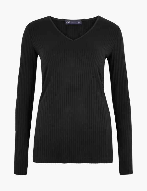 09bef863c538d4 Ribbed V Neck Long Sleeve Fitted Top