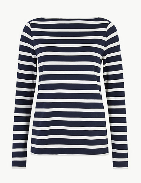 Striped Slash Neck Sweatshirt