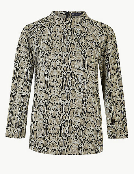 Animal Print 3/4 Sleeve Sweatshirt
