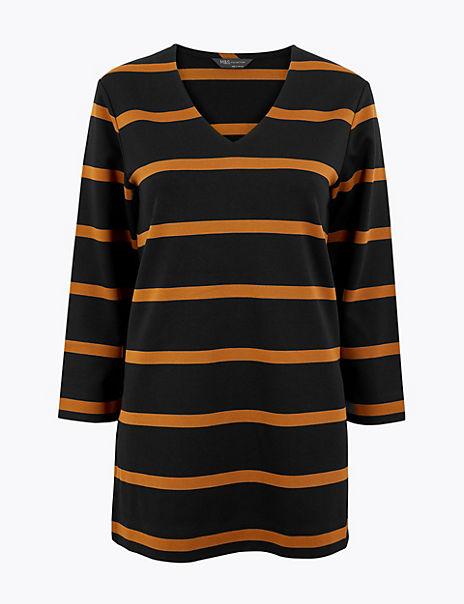 Striped 3/4 Sleeve Tunic