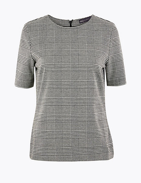Checked Short Sleeve Top