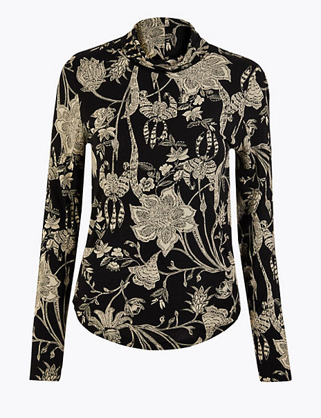 Floral Print Fitted Long Sleeve Top