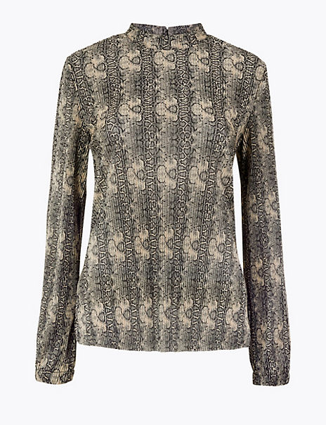 Printed Plisse Relaxed Fit Blouse