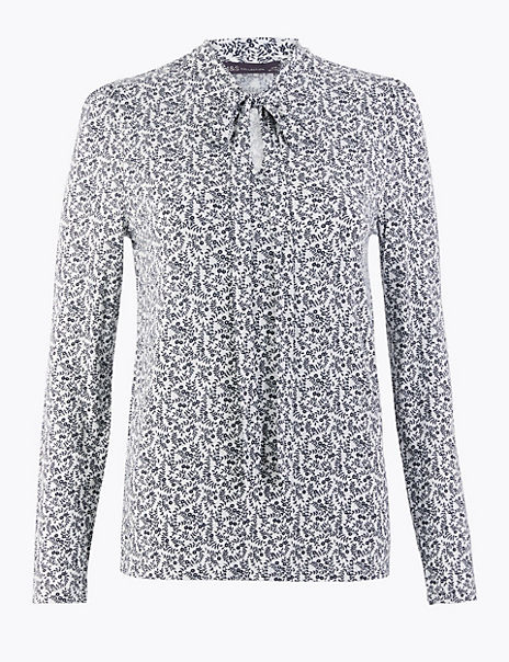 Floral Pussybow Long Sleeve Top