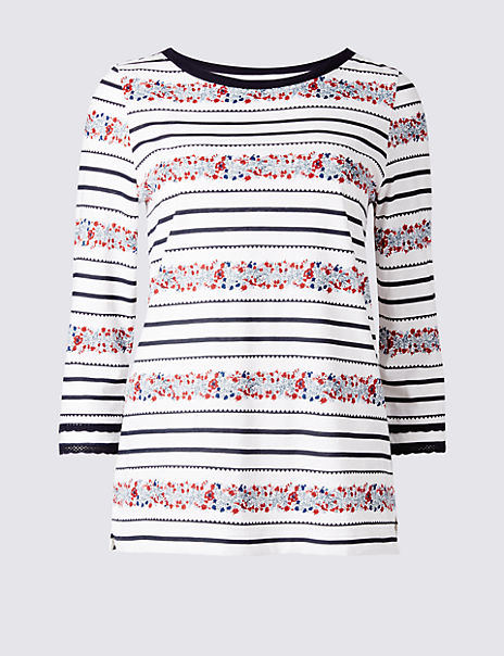 Pure Cotton Striped 3/4 Sleeve T-Shirt