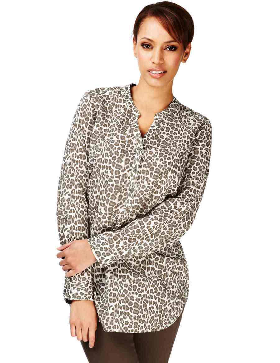 062a42088d246 Plus Pure Cotton Leopard Print Shirt