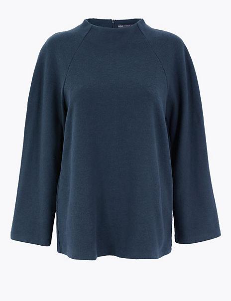 Cotton Blend High Neck 3/4 Sleeve Top