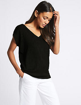 Textured V-Neck Short Sleeve Top