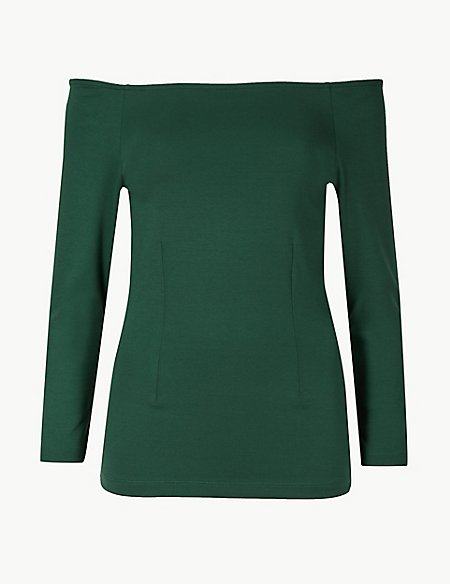 3/4 Sleeve Bardot Top