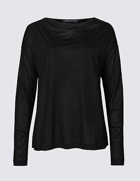 Slash Neck Long Sleeve Top