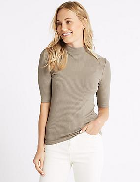Textured Funnel Neck Half Sleeve T-Shirt