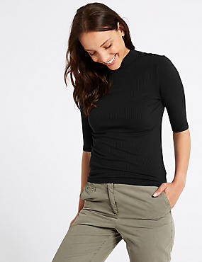 Textured Funnel Neck Half Sleeve T-Shirt
