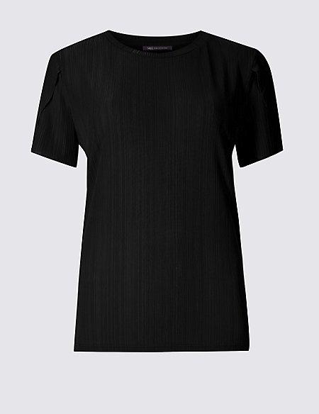 Textured Round Neck Short Sleeve Top