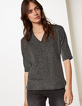 Sparkly V-Neck Top