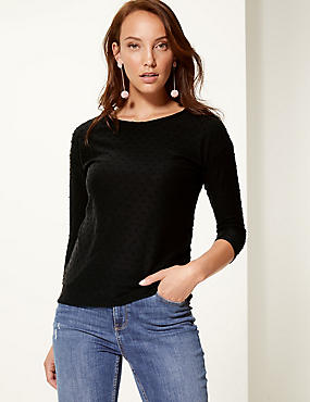 Textured Round Neck 3/4 Sleeve Top