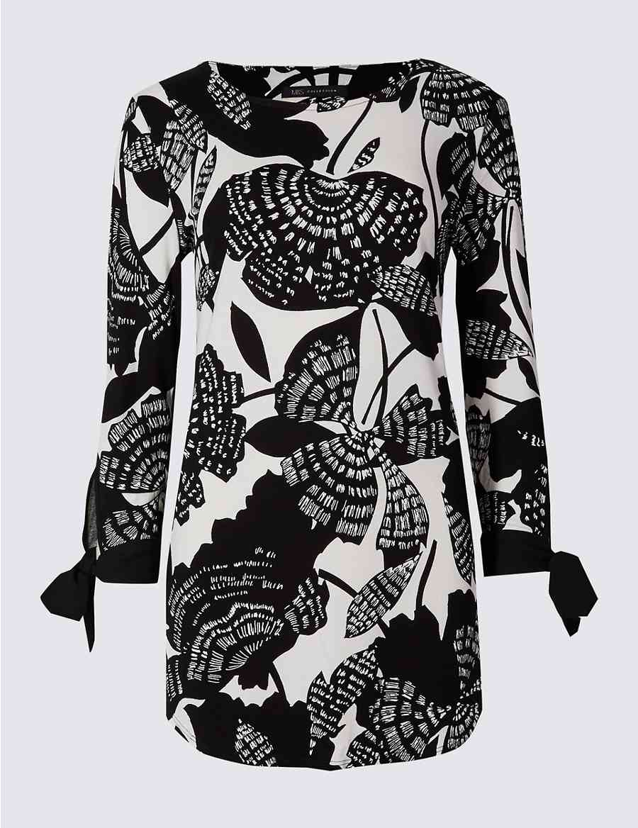 941f1817 Printed Tie Sleeve Round Neck Tunic Top | M&S Collection | M&S