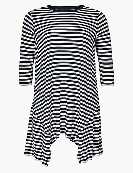 CURVE Striped Jersey 3/4 Sleeve Tunic