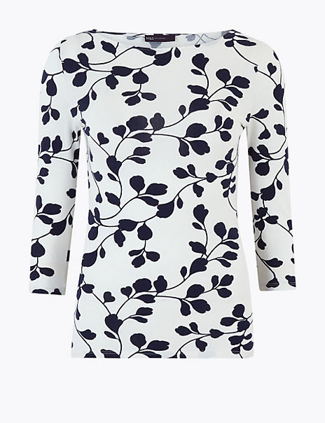 Cotton Floral Fitted 3/4 Sleeve Top