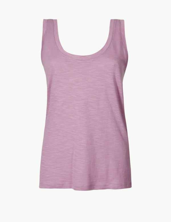 db877bcb034719 Scoop Neck Straight Fit Slub Vest Top. New to Sale. M&S Collection