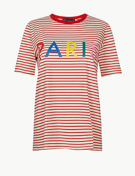 Pure Cotton Striped Paris Straight Fit T-Shirt