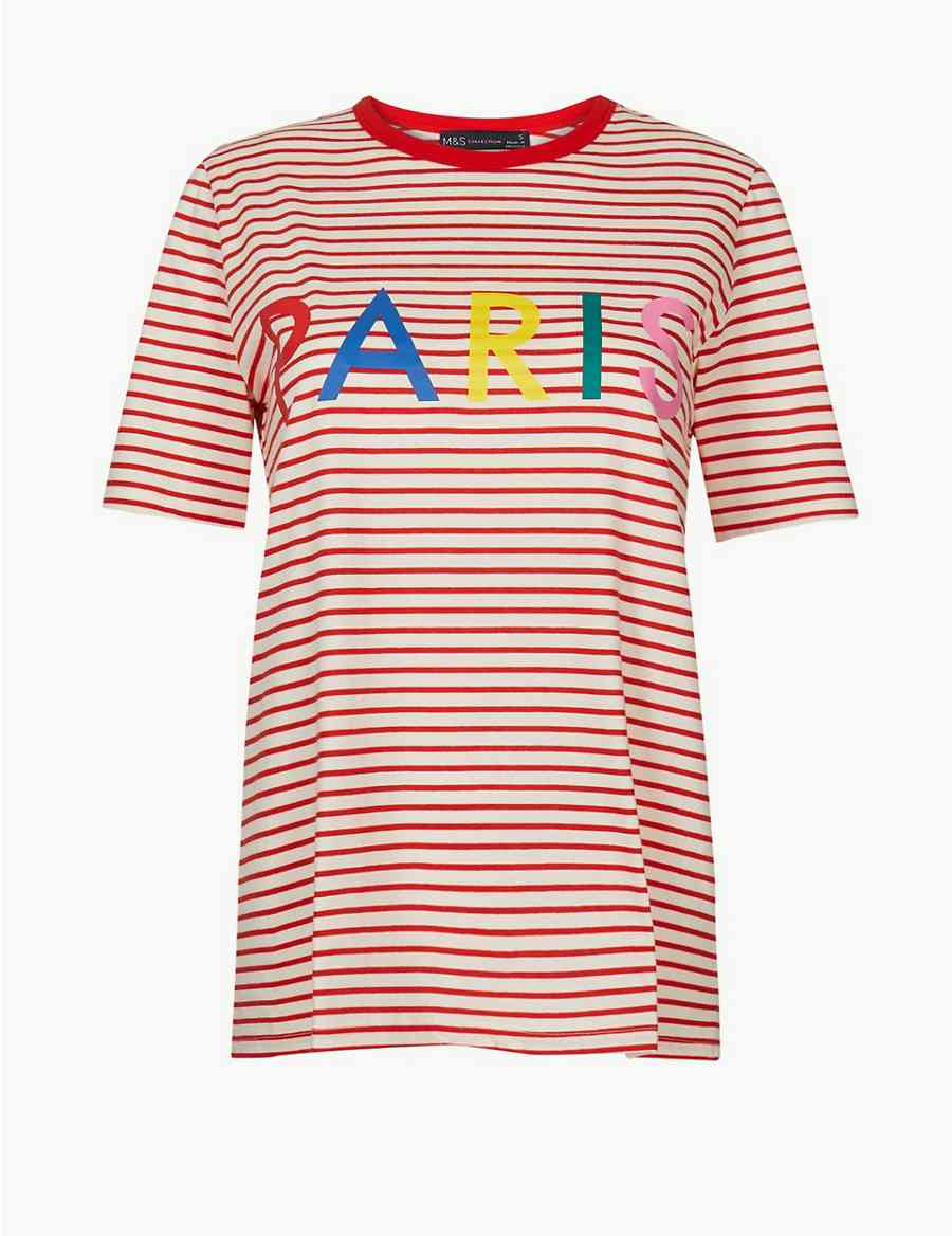 4b6859c5cea27 Pure Cotton Striped Paris Straight Fit T-Shirt