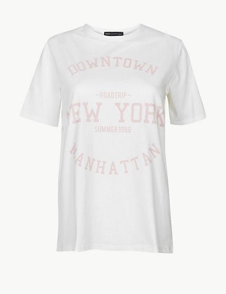 Pure Cotton Manhattan Straight Fit T-Shirt