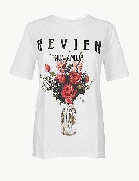 Pure Cotton Reviens Straight Fit T-Shirt