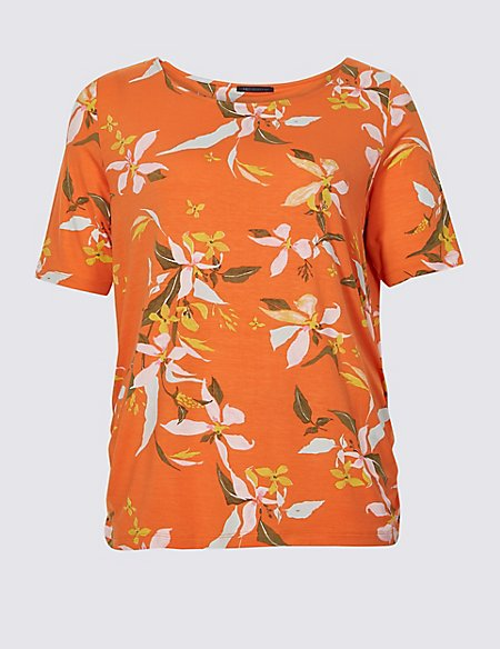 CURVE Floral Print Short Sleeve T-Shirt