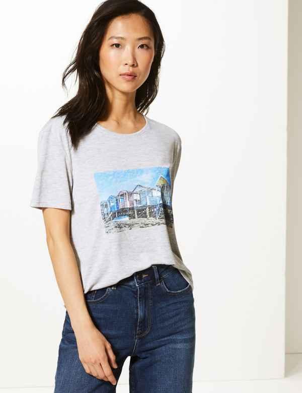 9de25310 Beach House Print Relaxed Fit T-Shirt